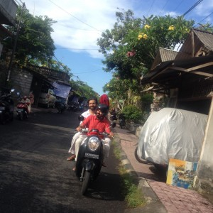 En route on a scooter to a concert in Bali!